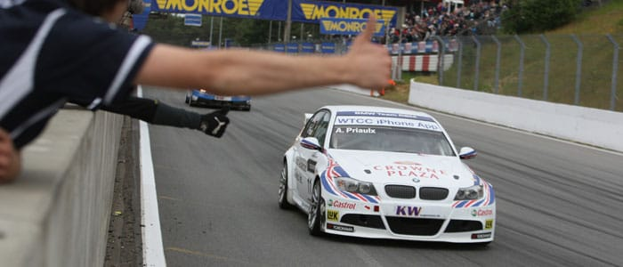 Andy Priaulx crosses the finish line at Zolder to take race 2 win - Photo credit: fiawtcc.com