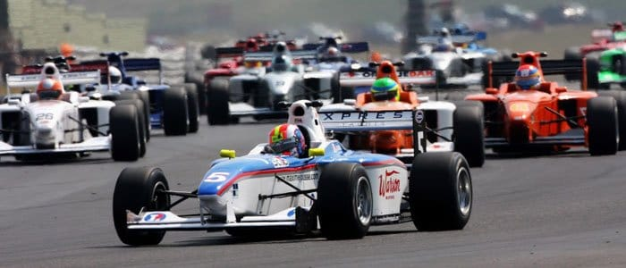 Maxime Jousse leads the Formula Palmer Audi Field away at Snetterton