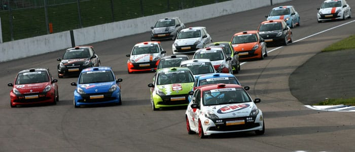 Dave Newsham leads the Clio Cup field at Rockingham
