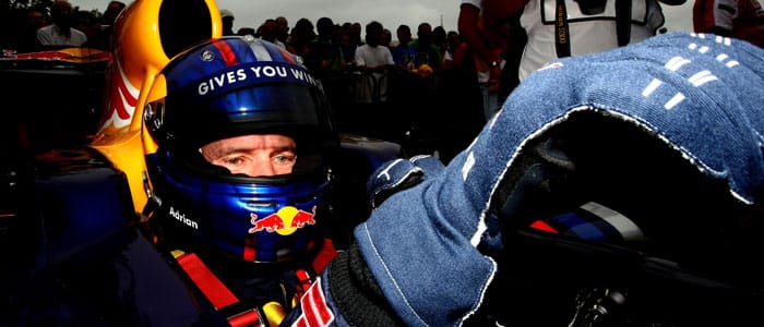 Adrian Newey in the RB5 at Goodwood - Photo credit: Red Bull