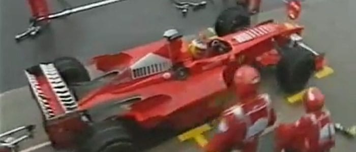Schumacher pits at the end of the race