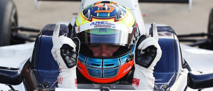 Dean Stoneman celebrates his pole position