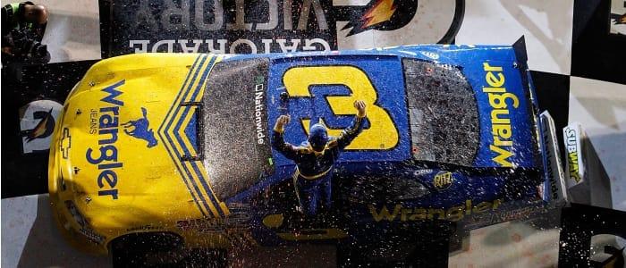 Dale Earnhardt Jr. atop the winning car