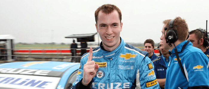 Alex MacDowall celebrates becoming the youngest BTCC polesitter