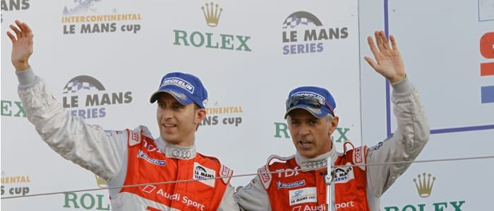 Bernhard and Capello on the podium - Photo Credit: Audi Motorsport