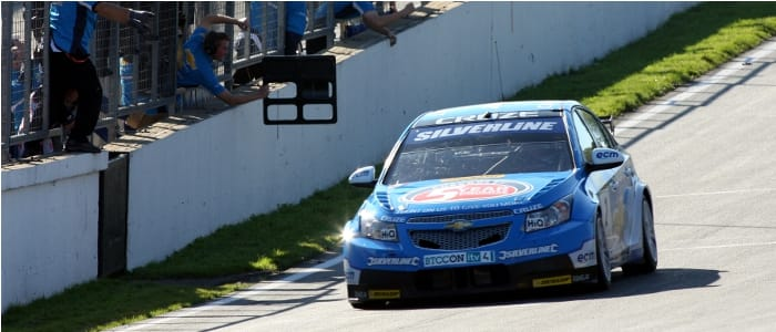 Plato crosses the line for the decisive victory - Photo Credit: BTCC.net