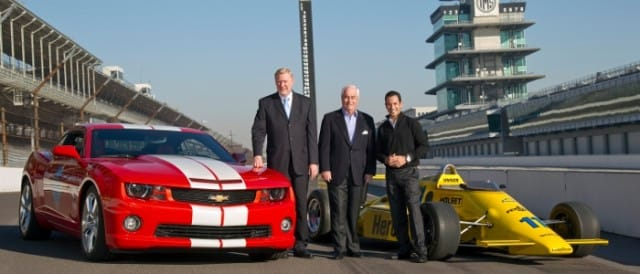 Tom Stephens, Roger Penske and Helio Castroneves at Indianapolis - Photo Credit: A.J. Mast for Chevrolet