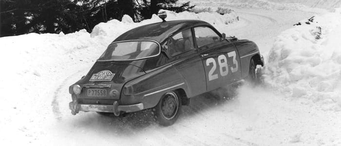 Erik Carlsson and Gunnar Palm in a Saab 96 - Monte Carlo 1963