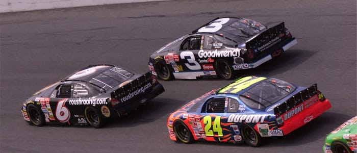 #6 Mark Martin battles with #3 Dale Earnhardt Jr. and #24 Jeff Gordon at Daytona in 2001 - Photo Credit: Chevy