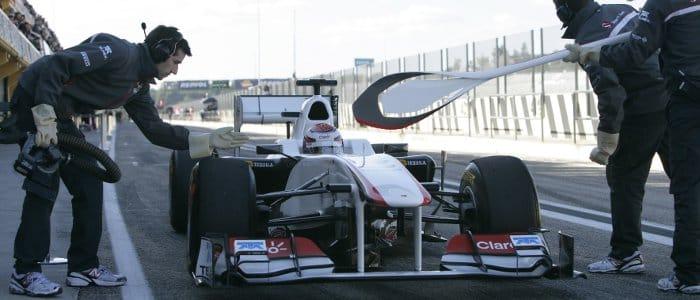 Kobayashi in Valencia Pit Lane - Photo Credit: Sauber