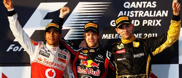 The top three in Australia: (Left to Right) Lewis Hamilton (2nd), Sebastian Vettel (Winner), and Vitaly Petrov (3rd) - Photo Credit: Mark Thompson/Getty Images