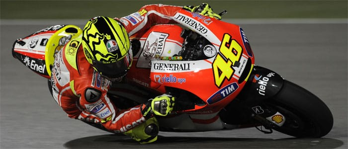 Rossi testing in Qatar - Photo credit: Marlboro Ducati