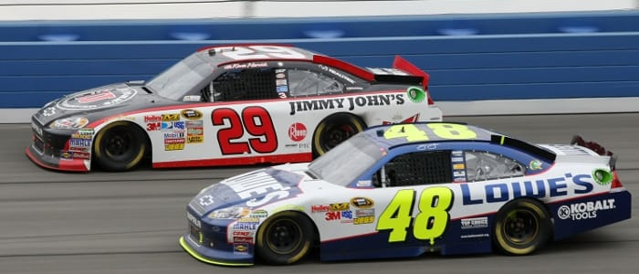 Harvick leads Johnson - Photo Credit: Victor Decolongon/Getty Images for NASCAR