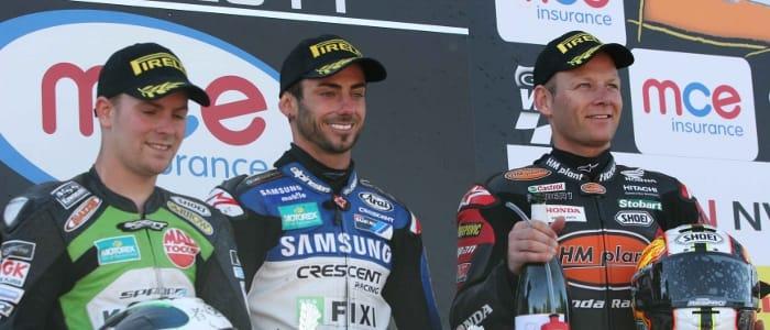 Byrne (right) on race two podium - Photo Credit: Pirelli Moto