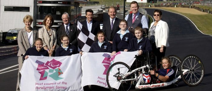 Lord Sebastian Coe, Jonathan Palmer, members of the local council, children from Valence School and Paralympian Rachel Morris