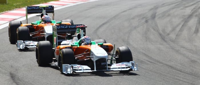 Adrian Sutil leads Force India team-mate Paul di Resta at the Turkish Grand Prix - Photo Credit: Force India F1 Team