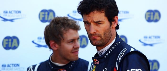 Sebastian Vettel (left) and Mark Webber - Photo Credit: Vladimir Rys/Getty Images
