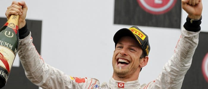Jenson Button Celebrates Victory on the Podium in Canada - Photo Credit: Vodafone McLaren Mercedes
