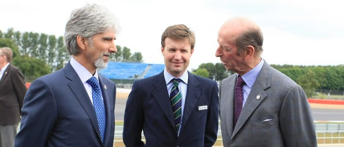 Damon Hill (left) welcomes HRH Prince Michael of Kent to the launch of the new Silverstone Pit and Paddock Complex - Photo Credit: Silverstone Circuit