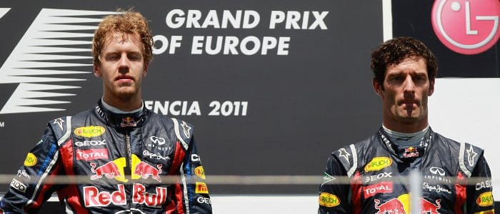 Sebastian Vettel (left) and Mark Webber on the podium at the European Grand Prix - Photo Credit: Paul Gilham/Getty Images