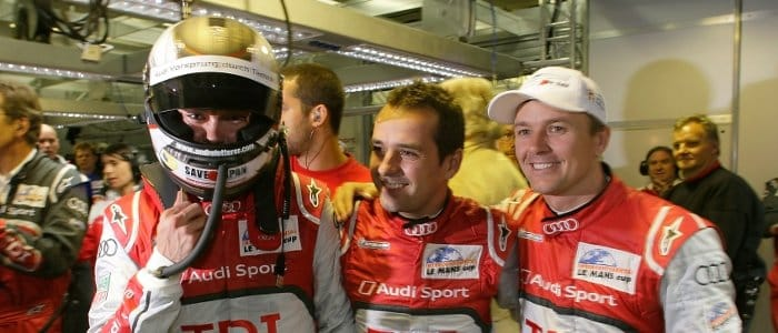 The crew of Audi No.2 (l-r) Lotterer, Treluyer, Fassler - Photo Credit: Audi Motorsport