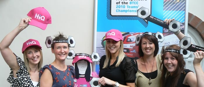 HiQ's marketing team Amanda Stagg, Nicola Dunton, Becki Oake, Lucy Fletcher and Jodie Moorcroft show off the items of headwear ahead of Oulton Park