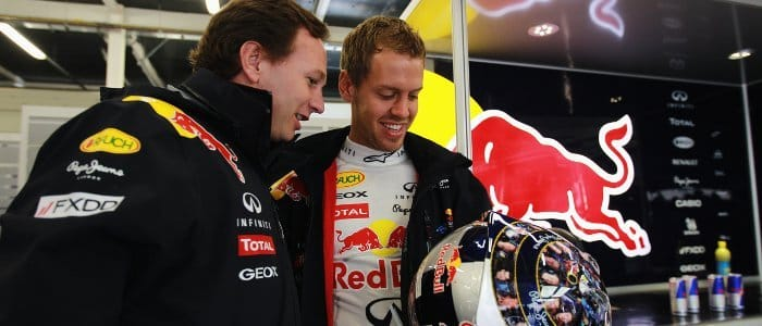 Christian Horner (left) and Sebastian Vettel at Silverstone - Photo Credit: Paul Gilham/Getty Images