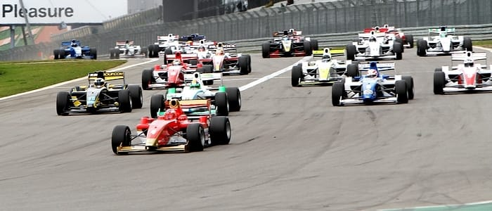 Mirko Bortolotti leads the F2 field away in Race 1 at the Nurburgring - Photo Credit: FIA Formula Two Championship