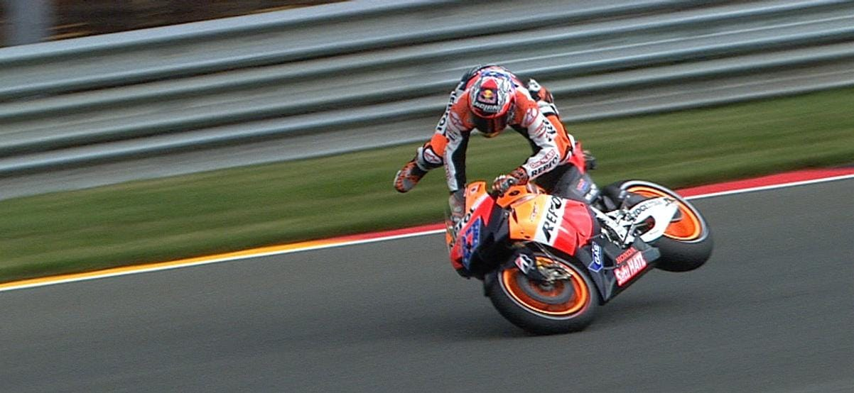 Casey Stoner Crashes in FP1 - Photo Credit - MotoGP.com