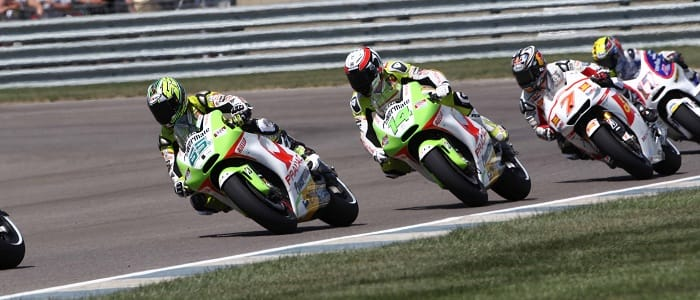 de Puniet follows Capirossi early in the race - Photo Credit: Pramac Racing