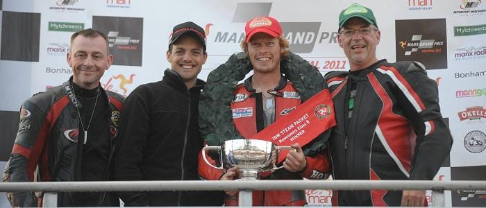 The Podium Finishers for the Newcomer B race - Photo Credit: Manx Grand Prix Festival