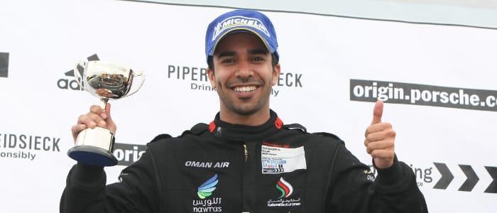 Ahmad Al Harthy on the Knockhill podium (Credit: Jakob Ebrey Photography)