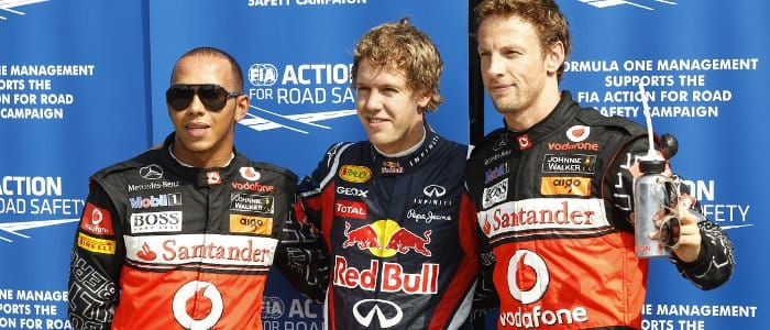 The top three qualifiers for the Italian Grand Prix. From left to right: Lewis Hamilton (2nd); Sebastian Vettel (Pole); Jenson Button (3rd) - Photo Credit: Pirelli