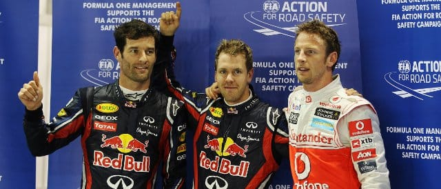 Singapore Qualifying Top Three: (Left to Right) Mark Webber (2nd); Sebastian Vettel (Pole); Jenson Button (3rd) - Photo Credit: Mark Thompson/Getty Images