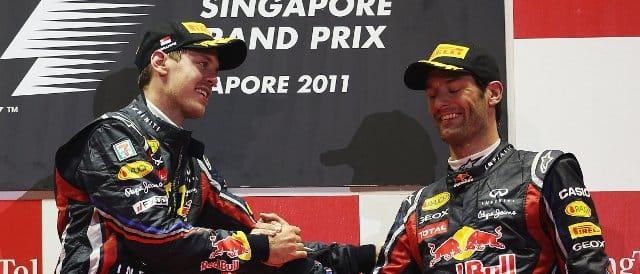 Sebastian Vettel (left) and Mark Webber on the Singapore Grand Prix podium - Photo Credit: Mark Thompson/Getty Images