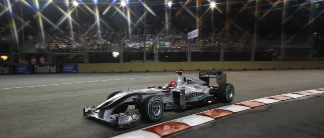 Schumacher qualifying under lights for the first time at the 2010 Singapore Grand Prix - Photo Credit: Mercedes GP