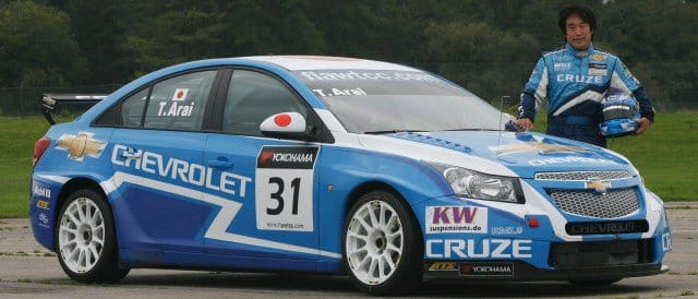 Toshi Arai with the Chevrolet Cruze - Photo Credit: Chevrolet