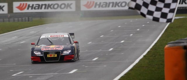 Mattias Ekstrom crosses the line to take victory - Photo Credit: Audi Motorsport