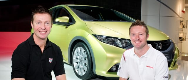 Matt Neal, Gordon Shedden and the brand new Honda Civic road car (Photo Credit: Honda)