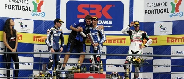 The race two podium at Portimao - Photo Credit: WSBK