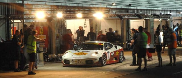 MJC Ltd's Ferrari 430 prepares to pull away from pitlane (Photo Credit: Chris Gurton Photography)