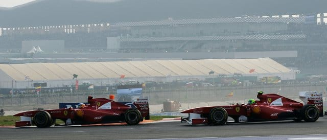 Massa follows Ferrari team-mate Fernando Alonso during the Indian Grand Prix  - Photo Credit: Ferrari