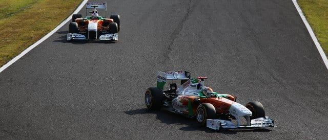 Adrian Sutil ahead of Force India team-mate Paul di Resta during the Japanese Grand Prix - Photo Credit: Force India F1 Team
