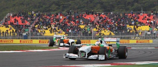 Paul di Resta leads Force India team-mate Adrian Sutil at the Indian Grand Prix - Photo Credit: Sahara Force India F1 Team