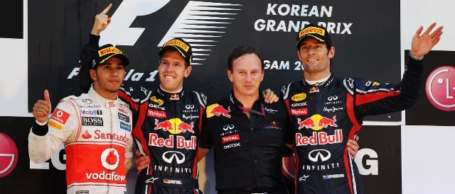 The Korean Grand Prix Podium: (Left to Right) Lewis Hamilton (2nd), Sebastian Vettel (winner), Red Bull team principal Christian Horner and Mark Webber (3rd) - Photo Credit: Mark Thompson/Getty Images