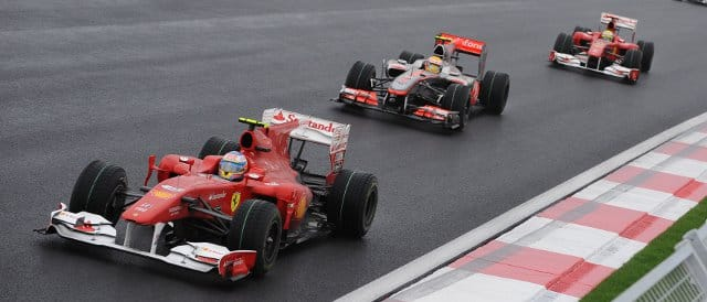 The podium finishers at last season's Korean Grand Prix follow one another on track: (Left to right) Fernando Alonso (winner), Lewis Hamilton (2nd) and Felipe Massa - Photo Credit: Ferrari.com