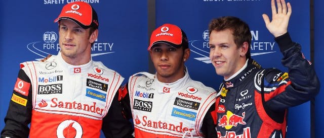The top three from qualifying in Korea today: (Left to Right): Jenson Button (3rd), Lewis Hamilton (pole), Sebastian Vettel (2nd) - Photo Credit: Clive Rose/Getty Images