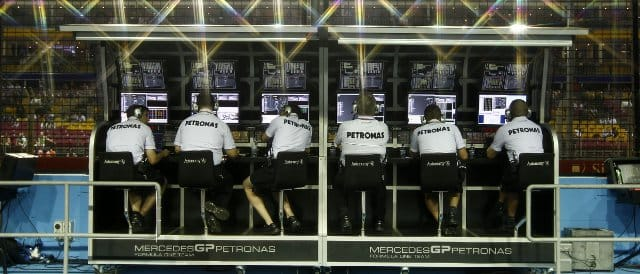 The Mercedes technical team keep a watching eye on events from the pit wall in Singapore - Photo Credit: Mercedes GP