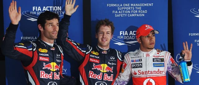 The top three from qualifying in India. (From left to right: Mark Webber (3rd), Sebastian Vettel (pole) and Lewis Hamilton (2nd)) - Photo Credit: Mark Thompson/Getty Images