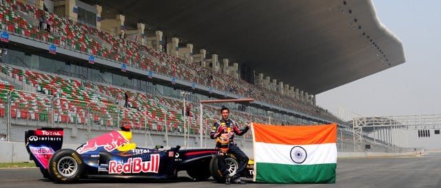Neel Jani takes the Red Bull show car out on track at the Buddh International Circuit - Photo Credit: Red Bull